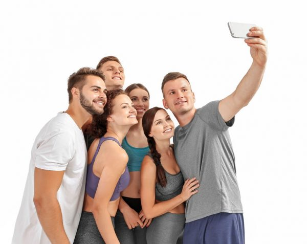 People taking selfie